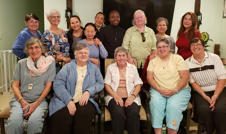 Pictured here at a farewell meeting with the Miami Associates of the Franciscan Sisters of Allegany, front row, from left: Shirley Raymond, Sister Michele Dolyk, Sister Lucy Cardet, Sister Colleen Brady and Sister Jo Streva; back row, from left: Margaret Rorick, Carol Lang, Maria del Carmen Saavedra, Diana Benitez, Daisy Canizalez, Elysee Manshia, Pat Fairfield, Ella Pulido, and Lisa Lamar.