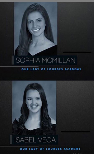 Lourdes Academy's Silver Knight honorable mentions,  Sophia McMillan and Isabel Vega
