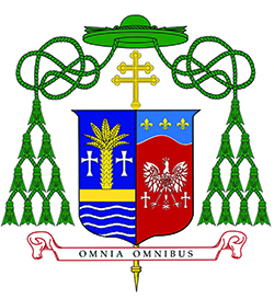 Coat of arms of the Archdiocese of Miami (left side) and Archbishop Thomas Wenski.