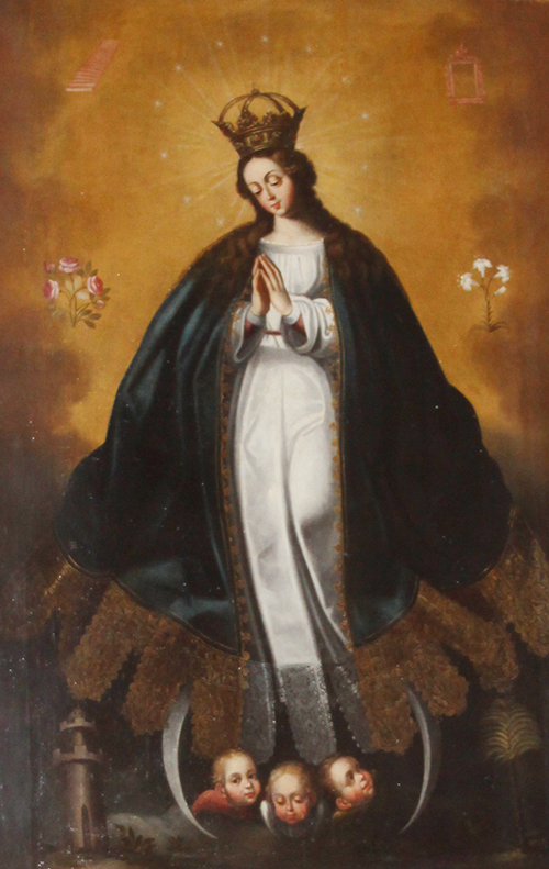 Image of Our Lady of the Immaculate Conception belonging to the Cuzco school of painting which flourished in Peru during the 16th, 17th and 18th centuries. This image is currently found in the Chapel of La Merced on the grounds of Corpus Christi Church in Miami.