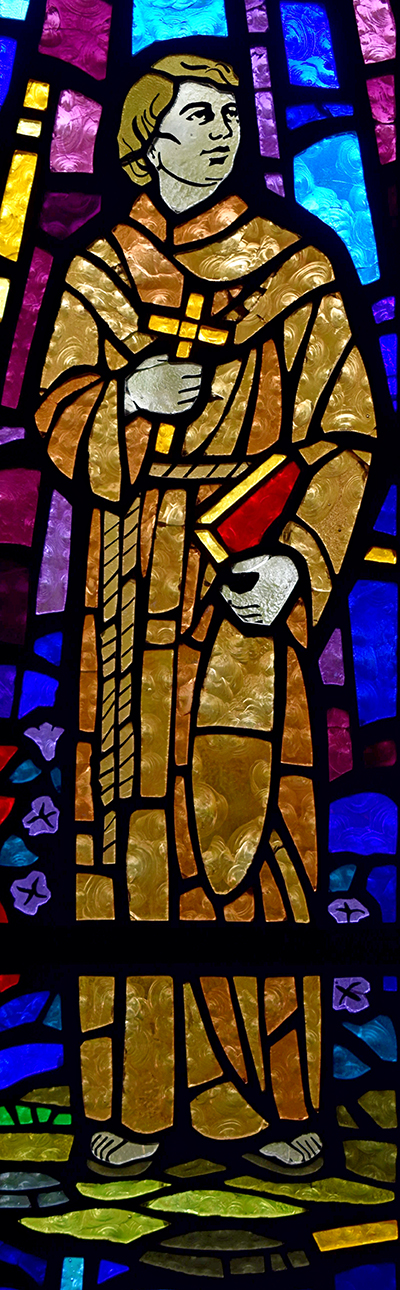 Junipero Serra, a Franciscan, founded nine missions in California in the 18th century. Pope Francis declared him a saint in 2015 in Washington, D.C. The image is from a stained glass window at St. Maurice at Resurrection Church in Dania Beach.