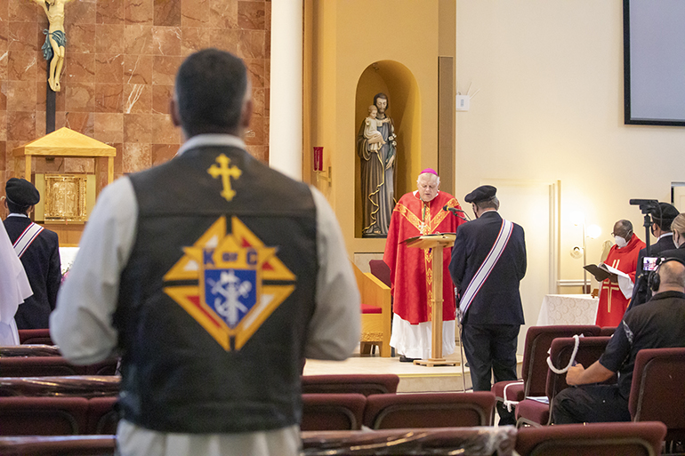 Members of the Knights of Columbus Knights on Bikes participate in a special prayer service July 3, 2020 at St. John XXIII Church in Miramar, marking the visit of the Silver Rose Pilgrimage through the Archdiocese of Miami.  The event was hosted by the Knights of Columbus Council 14390.