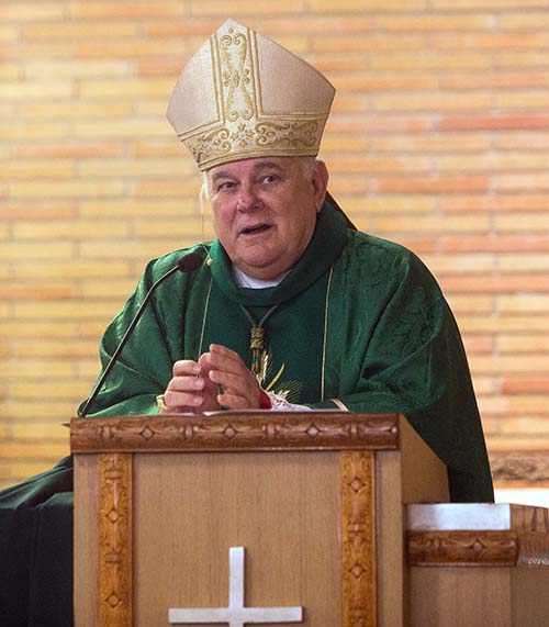 Archbishop Thomas Wenski preaches his homily during the Mass for unity against racism and for peace, which he celebrated July 5, 2020, at Holy Redeemer Church in Liberty City.