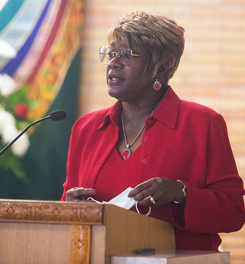 Katrenia Reeves Jackman, director of the archdiocesan Office of Black Catholics, addresses the congregation after the Mass for unity against racism and for peace, celebrated by Archbishop Thomas Wenski July 5, 2020, at Holy Redeemer Church in Liberty City.