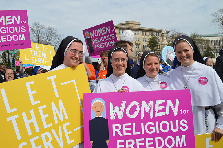 Religious sisters show their support for the Little Sisters of the Poor outside the Supreme Court where oral arguments were heard on March 23, 2016 in the Zubik v. Burwell case against the HHS Mandate. The case decided July 8, 2020, was the latest in a round of lawsuits over the mandate.