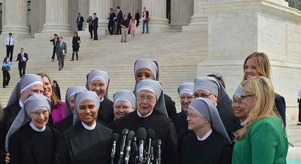 Little Sisters of teh Poor speak outside the Supreme Court after oral arguments were heard on March 23, 2016 in the Zubik v. Burwell case against the HHS Mandate. The case decided July 8, 2020, was the latest in a round of lawsuits over the mandate.