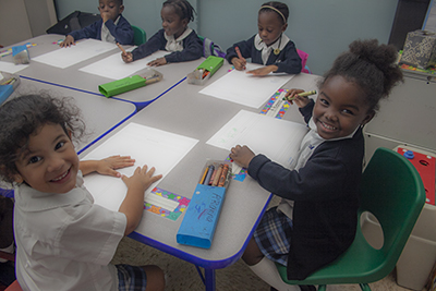PreK3 students at St. Mary Cathedral School work on a project in this file photo from 2017. No decision has been made yet on whether Catholic schools in the archdiocese will resume classes in person or online this fall in the midst of the COVID-19 pandemic. The only thing certain is that classes will start Aug. 19, 2020.