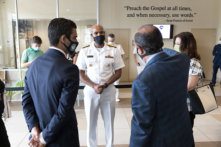 Dr. Jerome Adams, the 20th U.S. surgeon general, visited Miami's Camillus House July 23, 2020. He received a detailed tour of the homeless shelter and its Camillus Health Concern, and led a conversation with community leaders about the pandemic.