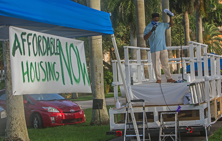 Steven Horsford, a parishioner at St. Monica Church in Miami Gardens, addresses the drive-in rally on affordable housing hosted by PACT July 27, 2020 at Coral Gables Congregational Church.