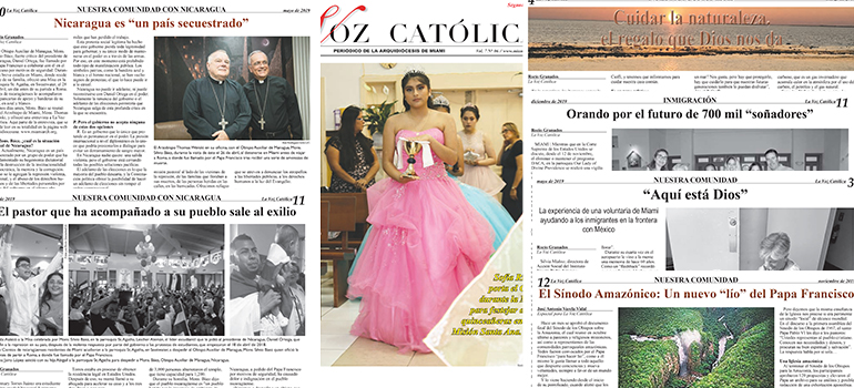Images of some of the stories that earned La Voz Católica 13 awards in the Catholic Press Association's 2020 contest.