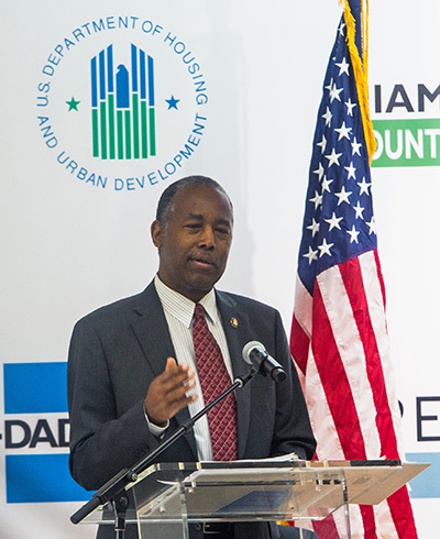 Ben Carson, U.S. Secretary of Housing and Urban Development, addresses those gathered for the groundbreaking ceremony for additional housing at Three Round Towers, a low-income housing development for the elderly located in Miami's Allappatah neighborhood. He visited Aug. 13, 2020.