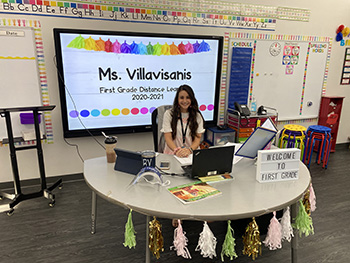St. Bonaventure first grade teacher, Rosina Villavisanis, gets ready to welcome her students to a new school year, Aug. 19, 2020.