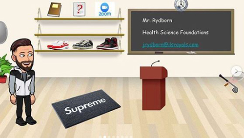 Meet the Bitmoji teacher: In James Rydborn's Bitmoji virtual classroom, along with contact information and a Zoom portal icon, you will find the Health Science Foundations teacher and STEAM Health Science Focus Coordinator wearing athletic gear, with a few other sneakers added to his décor, as well as a tennis racquet and golf club (he's the head coach for both sports at the school).
