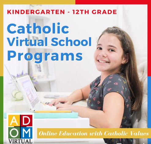 A screenshot from an ADOM Virtual Catholic School online promo.