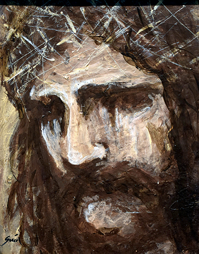 """In """"Messiah,"""" by Cesar Garcia, the thorns on Jesus' head even seem to scratch the canvas."""