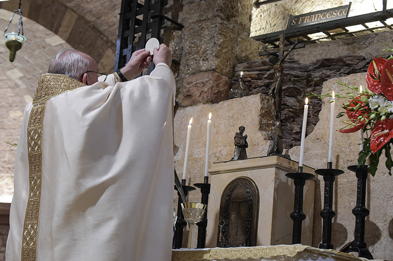 "Pope Francis celebrates Mass Oct. 3, 2020, at the tomb of St. Francis in Assisi, where he also signed his latest encyclical, ""Fratelli tutti"". He is thought to be the first pope to sign an encyclical outside of Rome for more than 200 years, since Pius VII issued the text Il trionfo in the Italian city of Cesena in 1814."