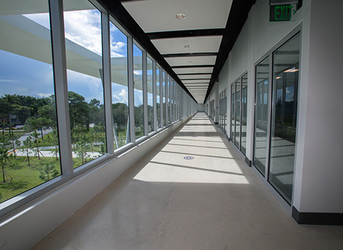 One of the hallways in St. Thomas University's new Gus Machado School of Business complex, which was dedicated by Archbishop Thomas Wenski Oct. 16, 2020.