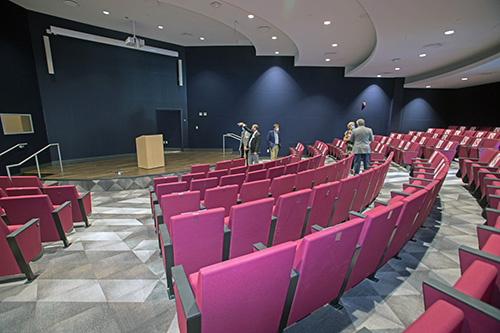 The Global Conference Auditorium in St. Thomas University's new Gus Machado School of Business complex, which was dedicated by Archbishop Thomas Wenski Oct. 16, 2020.