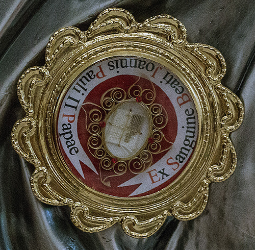This first-class relic of St. John Paul II is a piece of the bloodied cassock from when he was shot. It was one of three first-class relics brought by the Servants of the Pierced Hearts of Jesus and Mary to Our Lady of Guadalupe Church, Doral, on his feast day and the 100th anniversary of his birth, Oct. 22, 2020.