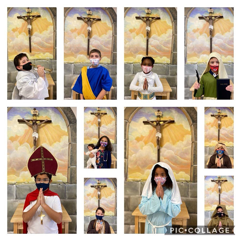 A collage of second graders from Mother of Our Redeemer School dressed as their favorite saint to mark the feast day. The display took place Nov. 2, 2020.