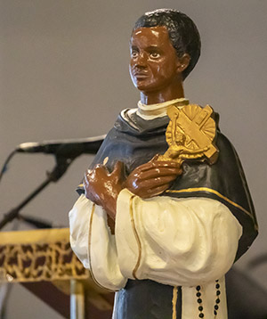 A statue of St. Martin de Porres was on display at St. Augustine Church in Coral Gables during a Mass commemorating his feast day, Nov. 8, 2020. The Mass marked the start of Black Catholic History Month and was hosted by the  Archdiocese of Miami's Office of Black Catholic Ministry.