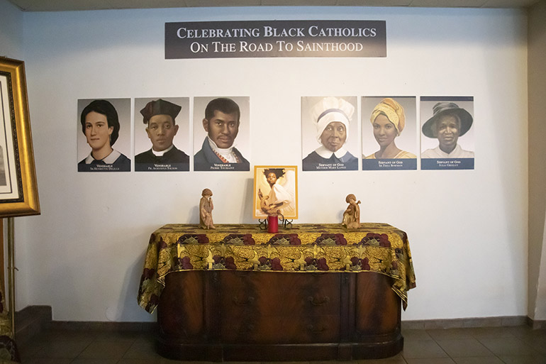 A display honoring Black Catholics on the road to sainthood was on display at St. Augustine Church in Coral Gables during a Mass commemorating the feast day of St. Martin de Porres, Nov. 8, 2020. The Mass marked the start of Black Catholic History Month and was hosted by the Archdiocese of Miami's Office of Black Catholic Ministry.