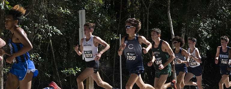 Christopher Columbus High School's cross country runners, Nicholas Ivonnet (1350) and Adrian Bichara (1346) compete in the state championship finals, Nov. 14, 2020 in Tallahassee.