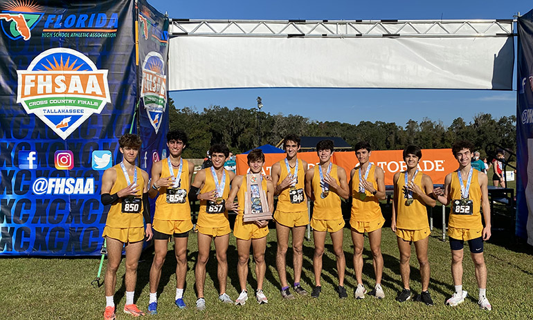 Belen Jesuit established itself as the best cross country program in the history of the state Nov. 14, 2020. Head Coach Frankie Ruiz, '96, moves past legendary Largo Coach Brent Haley with his 11th state championship title; the school's 12th and fourth consecutive.