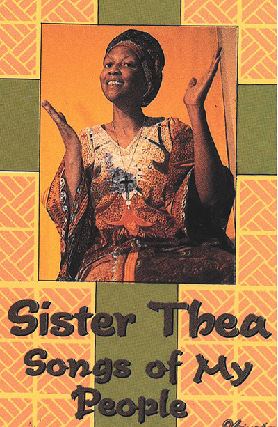 "With palms raised, Sister Thea Bowman posed for the cover of the album she recorded, ""Songs of My People."" Throughout her life, Sister Thea used music to evangelize and bring awareness of the history and needs of Blacks and Black Catholics. She has been declared a Servant of God, and is currently one of six Black Catholic candidates awaiting canonization."