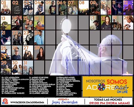Imagen con los nombres de los cantantes que participan en la trasmisión digital de Adoremus.