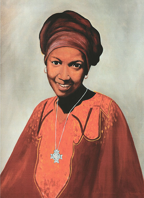 This portrait of Sister Thea Bowman, of the Franciscan Sisters of Perpetual Adoration, painted by Alexander Moore, was given as a gift to her friend, Donald Edwards, assistant superintendent of schools at the Archdiocese of Miami. Sister Thea has been declared a Servant of God, and is one of six Black Catholic candidates for canonization.