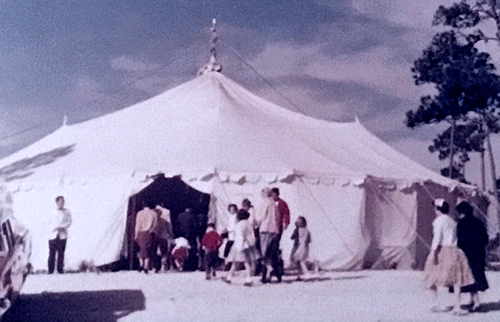 Nativity Church's first home in 1960 was a round tent that blew down in a storm.