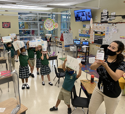 Lesana Corporan and her Kindergarten class share their drawings of how they can demonstrate kindness during Mary Help of Christians School's participation in Anti-Bullying Week, Nov. 16-20, 2020.