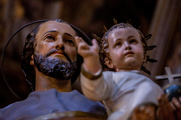 A statue of St. Joseph in an unidentified Catholic church in Rome, March 19, 2019. Pope Francis has written a new apostolic letter, Patris corde (With a Father's Heart), and proclaimed the Year of St. Joseph from Dec. 8, 2020 to Dec. 8, 2021.