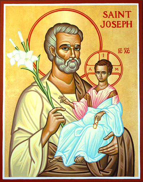 Icon of St. Joseph in the sacristy at St. Katharine Drexel Church, Weeston. In this image, Joseph also holds lilies, representing purity. Pope Francis has written a new apostolic letter, Patris corde (With a Father's Heart), and proclaimed the Year of St. Joseph from Dec. 8, 2020 to Dec. 8, 2021.