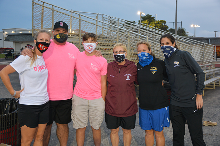 The high school soccer coaches who took part in Coaches vs. Cancer, Jan. 13, 2021, from left: Margo Flack from Cardinal Gibbons; Mike Sorensen, Michael Sorensen and Laura Rountree from Marjory Stoneman Douglas; Kate Dwyer from Cypress Bay; and Tricia Amrhein from North Broward Prep.