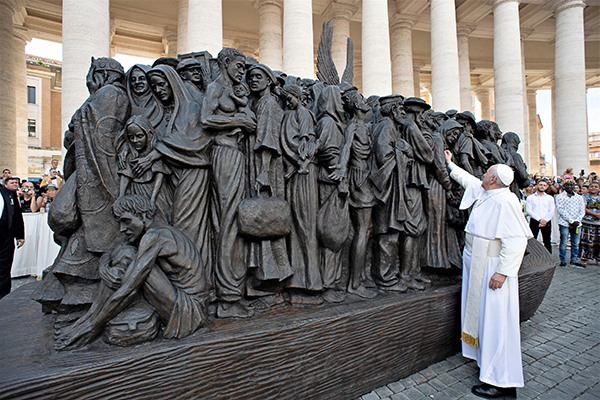 "Pope Francis blesses ""Angels Unawares,"" a sculpture to be shown in Miami February 2021."