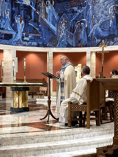 Archbishop Thomas Wenski preaches during the Holy Hour for Life he led at St. Mary Cathedral the evening of Jan. 28, 2021, as part of the 9 Days for Life observance on the anniversary of the 1973 U.S. Supreme Court decision legalizing abortion in the U.S.