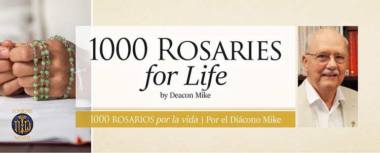 """Deacon Michael Plummer began promoting his """"1,000 Rosaries for Life"""" campaign at his parish, Our Lady of Lourdes, after prodding from his pastor, Msgr. Kenneth Schwanger."""