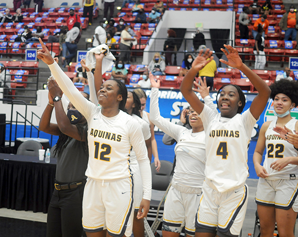 St. Thomas Aquinas players give thanks to their fans for their support in the Raiders' 62-60 victory over Wekiva in the FHSAA Class 6A girls basketball championship game Saturday, Feb. 27, 2021, at the RP Funding Center in Lakeland. The Raiders won their first championship.