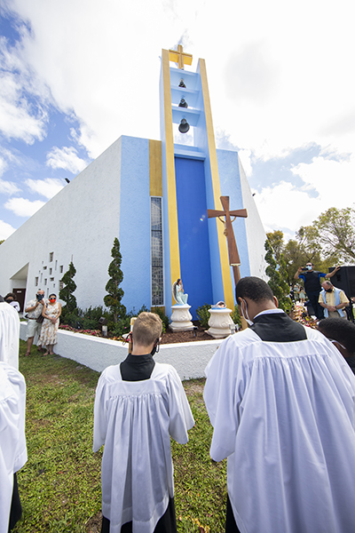 The community of St. Malachy Church in Tamarac gathered Feb. 28, 2021 to celebrate the blessing of the parish's new Respect Life Garden.