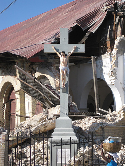A crucifix was the only thing left unscathed in the ruins of Sacred Heart Church or Legliz Sacre Coeur in the Turgeau section of Port-au-Prince after the 2010 earthquake, from which Haiti has still not recovered completely. Hurricanes and COVID-19 have compounded the misery and suffering of the people.