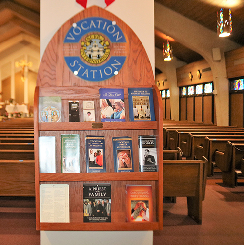 St. Gabriel Church in Pompano Beach features a Vocation Station courtesy of the Serra Club of Broward County. The station displays information, brochures and resources focused on vocations to the priesthood and religious life and on ways of fostering vocations.