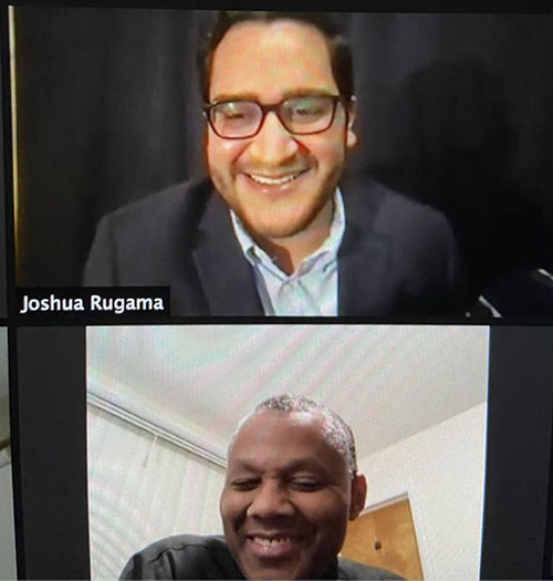 Joshua Rugama, coordinator of Encuentros Juveniles, and the movement's chaplain, Father J. Sterling Laurent, take part in the February 2021 virtual presentation of the St. Katharine Drexel Pathway Award from the National Federation for Catholic Youth Ministry.
