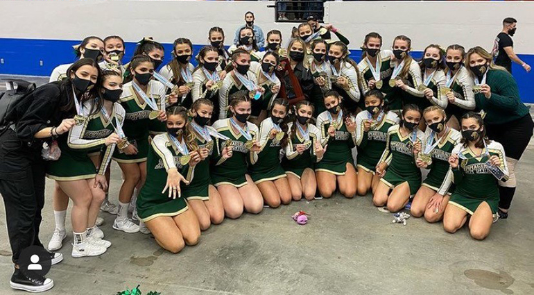 Immaculata-La Salle cheerleaders pose for a photo after the winners were announced at the state finals competition, Jan. 23, 2021 at the RP Funding Center in Lakeland.