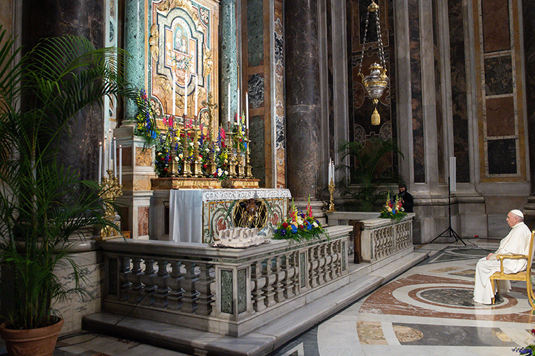 Pope Francis prays the rosary to invoke an end to the COVID-19 pandemic in the Gregorian Chapel at St Peter's Basilica on May 1, 2021.