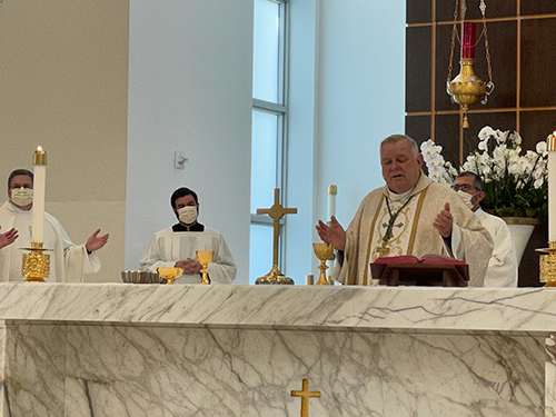 Archbishop Thomas Wenski celebrates Memorial Day Mass at Our Lady of Guadalupe Church in Doral, May 31, 2021.