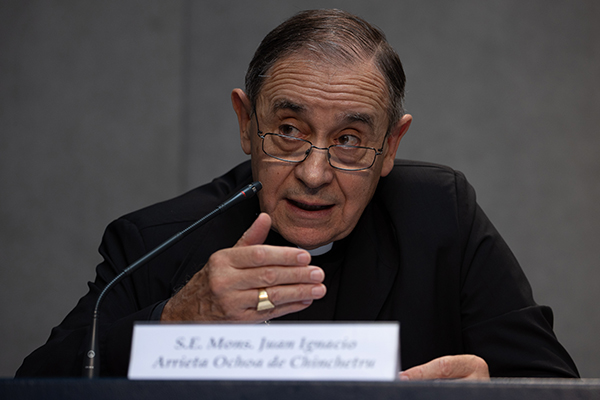 Bishop Juan Ignacio Arrieta Ochoa de Chinchetru, secretary of the Pontifical Council for Legislative Texts, speaks at the press conference where the Vatican announced the amendments to Book VI of the Code of Canon Law. The announcement was made June 1, 2021 at the Holy See Press Office in Vatican City.