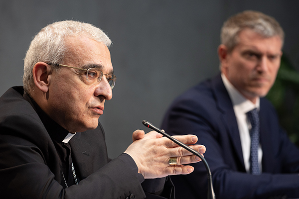 Archbishop Filippo Iannone, the president of the Pontifical Council for Legislative Texts, speaks at the press conference announcing amendments to Book VI of the Code of Canon Law, held June 1, 2021 at the Holy See Press Office in Vatican City.