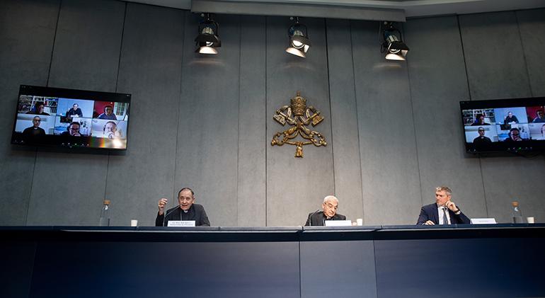 View of the press conference about amendments to Book VI of the Code of Canon Law, held June 1, 2021 at the Holy See Press Office in Vatican City.